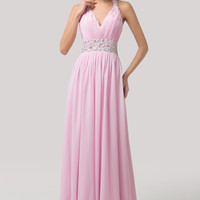 Pink Halter V-Neck Ruched Beaded Maxi Prom Dress