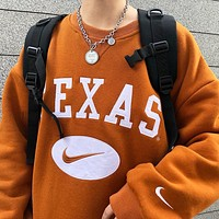 NIKE New fashion embroidery hook letter couple long sleeve top sweater