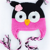 Infant/Toddler Knitted Crochet Owl Hat. Multiple Color Combinations