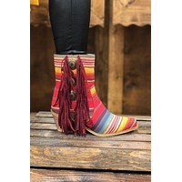 Serape Concho and Fringe booties