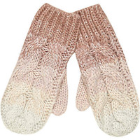 Pink ombre cable knit mittens
