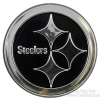 Pittsburgh Steelers Raised Silver Chrome Colored Auto Emblem Decal Football
