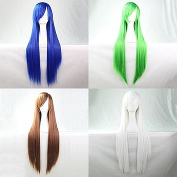 Women Fashion Long Anime Wigs Cosplay Party Wigs Full Straight Hair Extension