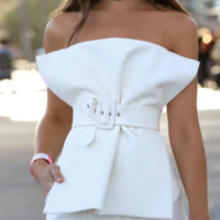 Hot style sexy belted sleeveless top with frilly neckline