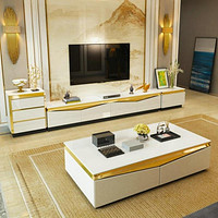 Set Of Gold Colored Steel Tv Stand, Coffee Table and Side Table