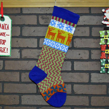 Colorful Hand Knit Christmas Stocking, Fair Isle Design, Blue Cuff, Orange Deer and Teal Pinwheels, Can be Personalized, Housewarming Gift