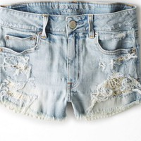 AEO Women's Hi-rise Destroyed Denim Shortie (Light Destroy Wash)