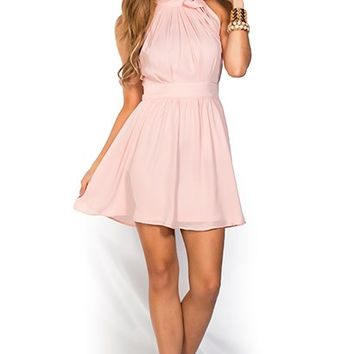 Estelle Pink Fit and Flare Chiffon Halter Party Dress