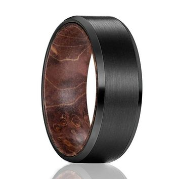 Men's Black Tungsten Carbide Band with Dark Box Elder Wood Sleeve - 8mm
