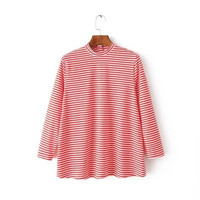 Cotton Stripes Printed Women Backless Long Sleeve Round Necked Button Split T-Shirt Top T-Shirt Top _ 9717