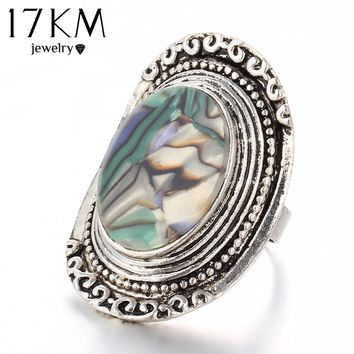 17KM 2016 New Vintage Rings Beach Turkish Midi Ring Steampunk Antique Alloy Colorful Joint Knuckle Resin Rings for Women Gift
