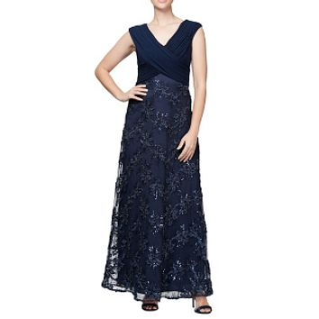 Alex Evenings Embellished Surplice Gown Size 12.