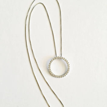 Sterling Silver 18 Inch Box Chain Necklace with JCM Crystal CZ's set in Sterling  Eternity Circle, Karma  or  Friendship Necklace