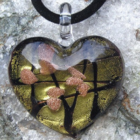 Beautiful Gold Heart Glass Pendant - Special Offer