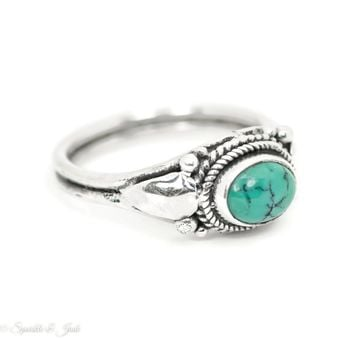 Sterling Silver Natural Turquoise Oval Antiqued Finish Ring