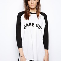 ASOS Oversized Baseball Top with Make Out Print