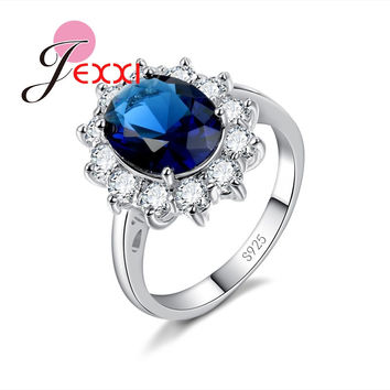JEXXI Beautiful Women Wedding Jewelry Clear Crystal Blue Green Red Stone Female Engagement Rhinestone Rings 925 Stamp Silver