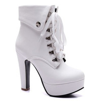 High Heel Lace Up Boots With Platform
