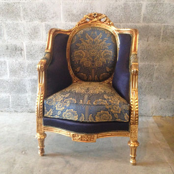 French Blue Bergere Antique French Louis XVI 4 Chair Available Fauteuil Wingback Sofa Settee Gold Leaf ReUpholster New Fabric Blue Damask