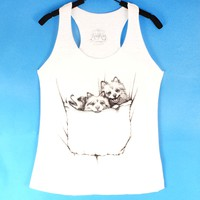 Baby Pomeranian Puppies Animal Graphic Print Racerback Tank Top in White