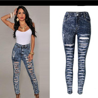 Straight Snow White Ripped Holes High Waist Skinny Plus Size Jeans