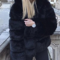 New Black Fuzzy Faux Rabbit Fur Hooded Thick Warm Long Sleeve Casual Outerwear