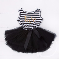 """Baby Toddler Girl Black/White Striped """"Two"""" Birthday Year Stripe and Tulle Skirt Dress Set 18-24 Mo size"""