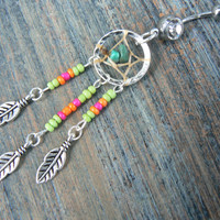 dreamcatcher belly ring turquoise Lime pink orange blue beads  tribal boho hippie belly dancer