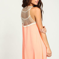 Coral Crochet Grid Shift Dress - LoveCulture