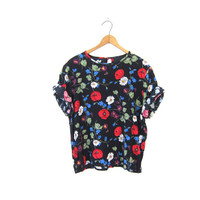 90s Boxy Floral Blouse Black Slouchy Short Sleeve Blue Tee Preppy Hipster Boho 1990s Loose Fitting Cropped Tshirt Vintage Womens Small