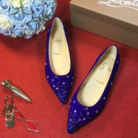 DCCK2 Sale Christian Louboutin CL Follies Strass Flat - Blue-1