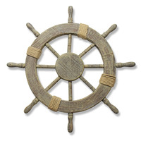 Ornamental Home Decor Nautical Ship Steering Wheel Wall Decoration Wood and Rope 24""