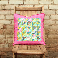 Pink and Turquoise Patchwork Pillow - #3