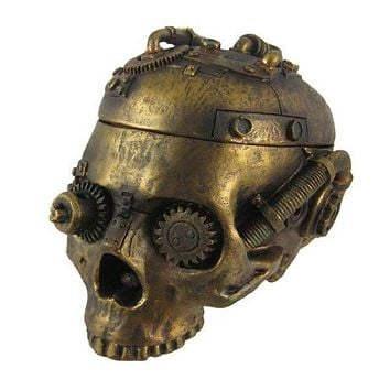 Steampunk Skull Trinket Box Ashtray Ash Tray Stash Statue