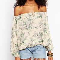Glamorous Tall Floral Print Gypsy Top at asos.com
