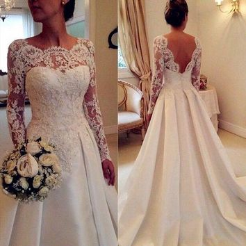 New Design Long Wedding Dress 2019 Scoop Long Sleeves A-Line Appliques Satin Bridal Gowns Robe de mariage