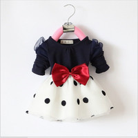 infant chiffon dress with big bow-knot kids fashion polka dress