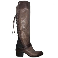 Freebird Coal - Grey Multi Leather OTK Back Lace-Up  Boot