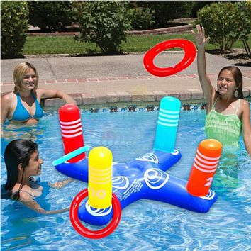 Children and adults inflatable cross ring toss game swimming pool fun toys summer water beach party props plaything air mattress