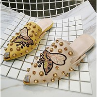 Summer Trending Women Stylish Embroidery Butterfly Rivet Water Drill Sandal Half Slipper Shoes I12366-1