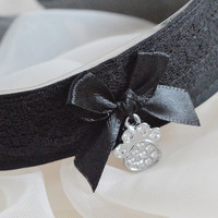 Padfoot - romantic gothic choker with silver paw pendant - cosplay lolita kitten pet play collar