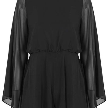 PETITE Angel Sleeve Playsuit - Topshop