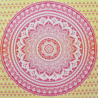 Yellow Multi Mixed Roundie Ombre Mandala Wall Tapestry, Indian Bedding on RoyalFurnish.com