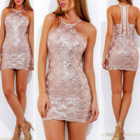 Beloved High-Neck Sequin Dress