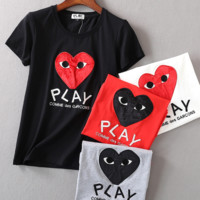 PLAY letters print  loose T-shirt short sleeve top tee blouse