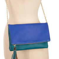 TASSEL ACCENT TWO TONE FOLD-OVER CLUTCH WITH STRAP