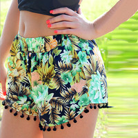 Women High Waist Floral Short Girl Summer Beach Casual Gym Shorts
