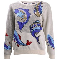 ZLYC Women's Ocean Flying Fish Casual Pullover Jumper Aniaml Print Sweater