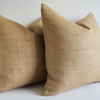 Sukan / 1 BURLAP Pillow Cover Natural - Decorative Throw Pillow Cover - Cushion Cover - Euro Shams - Burlap Cushion - 24 x 24 Pillow Cover