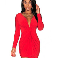 V-neck Long Sleeve Ruched Mini Bodycon Dress